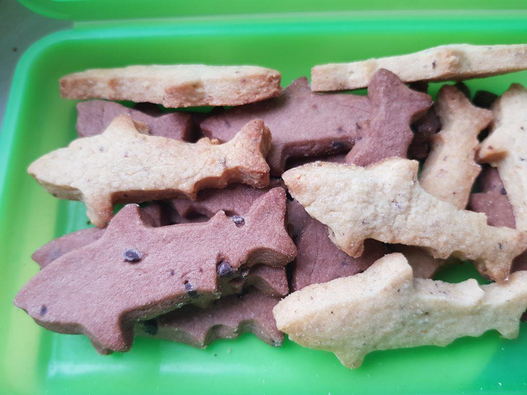 Verschiedene Kekse in Haiform liegen in einer grünen Brotdose