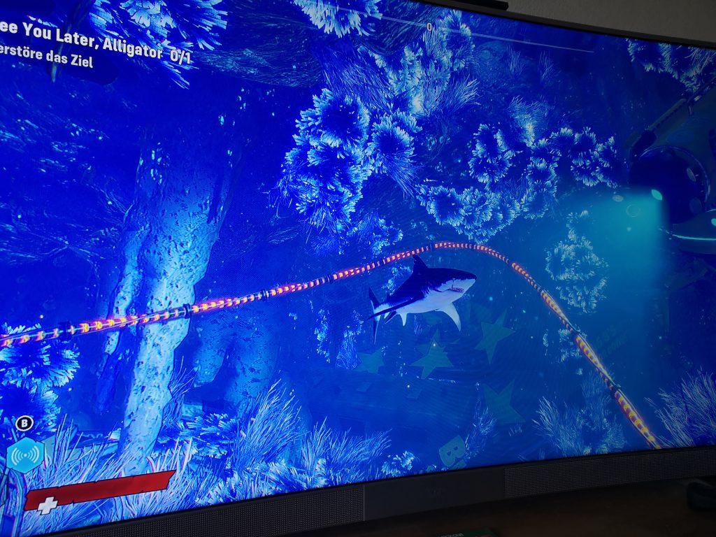 Das Bild ist vom Fernseher abfotografiert und zeigt den Hai, den wir in dieser Episode gespielt haben. Er ist in einer bläulich beleuchtetn Grotte unterwegs, die von einer Art Lichterkette durchzogen ist.